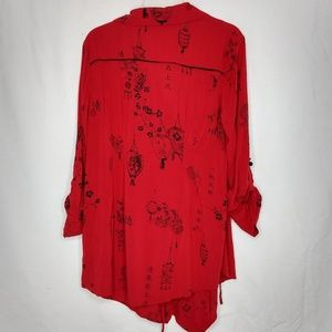 Soft Surroundings Tops - Soft Surroundings Large Red Japanese Print Tunic